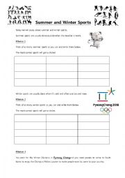 English Worksheet: Summer and Winter sports