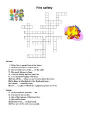 English Worksheet: Cross word Fire safety