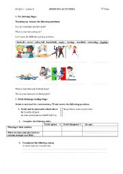 English Worksheet: sporting activities worksheet