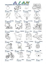 English Worksheet: Indefinite articles A / AN