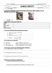 English Worksheet: lesson 25: Human rights 1st form Tunisia