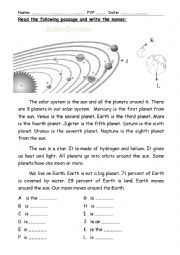 English Worksheet: A reading passage about