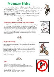 Mountain Biking - Summer camp text with exercise and key