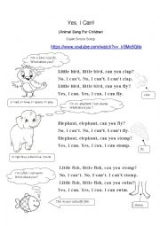 English worksheet: I can