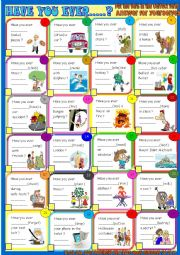 English Worksheet: Have you ever?: grammar practice and pair work