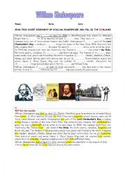 A SHORT BIOGRAPHY OF WILLIAM SHAKESPEARE