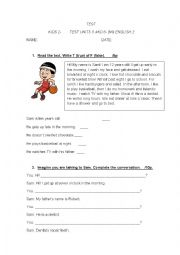 English Worksheet: TEST. Everyday activities & the Time