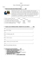 English Worksheet: TEST. Everyday activities, personal information, animals, birthday.