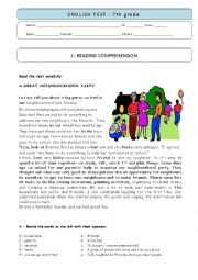 English Worksheet: 7th grade TEST - A Neighbourhood party