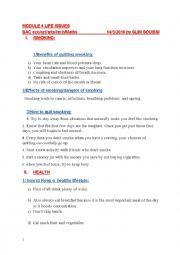 English worksheet: bac review