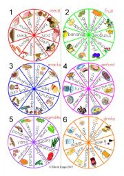 English Worksheet: 5 In a Row Food Groups Spinners and Scorecards