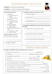 English worksheet: Conditionals I & II