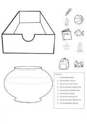 preposition in worksheet for kids