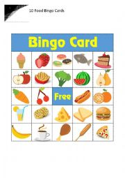 English Worksheet: 10 Food Bingo Cards
