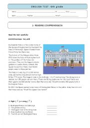English Worksheet: 6th grade test - BUCKINGHAM PALACE