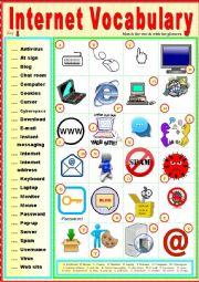 English Worksheet: Internet Vocabulary. Matching exercise + KEY.