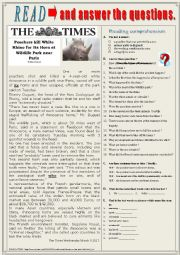 English Worksheet: Poachers kill White Rhino in Wildlife park near Paris. Reading + questions + KEY.