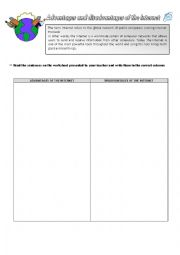 English Worksheet: The advantages and disadvantages of the Internet