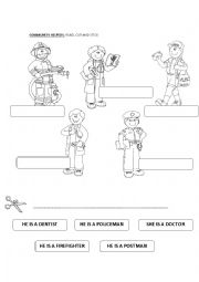 English Worksheet: Community Helpers. Read, cut and stick