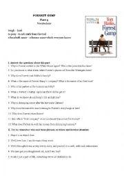 English Worksheet: Forrest Gump Movie Worksheet Part IV