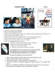 English Worksheet: Forrest Gump Movie Worksheet Part V
