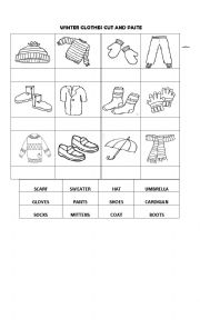 English Worksheet: WINTER CLOTHES CUT AND PASTE