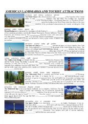 English Worksheet: US Landmarks and Attractions