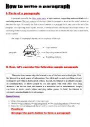 English Worksheet: Paragraph  Writing