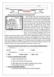 English Worksheet: Homework