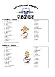 English Worksheet: synonyms and antonyms - verbs