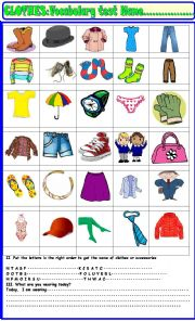 Clothes  vocabulary test for young learners