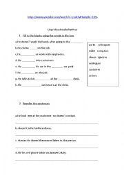 English Worksheet: unprofessional behaviour at work