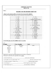 English Worksheet: Gradable and Non gradable Adjectives