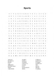 English Worksheet: Wordsearch - Sports