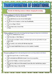 English Worksheet: Mixed Conditionals: Zero, First, Second and Third (Transformation)