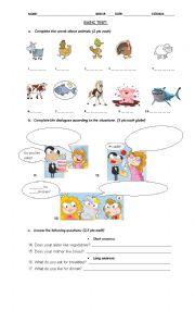 English Worksheet: Animals and food TEST