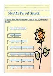 English Worksheet: part of speech edited