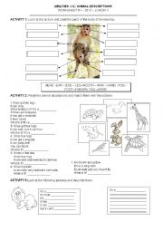english worksheets animal description and abilities can can t. Black Bedroom Furniture Sets. Home Design Ideas