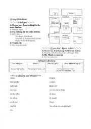 English Worksheet: Directions with map