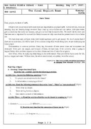English Worksheet: D�forestation - 4MS exam