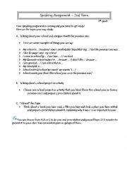 English Worksheet: Speaking 7th grade 2nd term