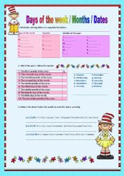 English Worksheet: Day, Months, Dates