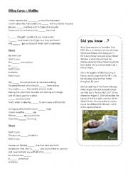 English Worksheet: Miley Cyrus � Malibu
