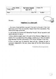 English worksheet: end of term test
