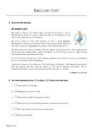 English worksheet: my school day