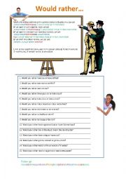 English worksheet: Would rather