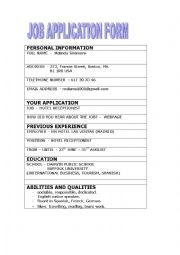 English Worksheet: An interview to apply for a job