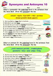 Synonyms vs Antonyms  10
