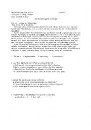 English worksheet: Third Year test