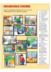 English Worksheet: HOUSEHOLD CHORES